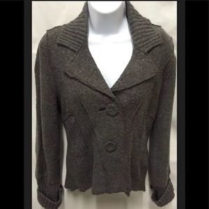 AMBITION Boiled Wool Fitted Jacket Button Ribbed